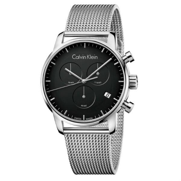 CKCITY(K2G27121)城市經典米蘭簡約計時腕錶黑面43mm