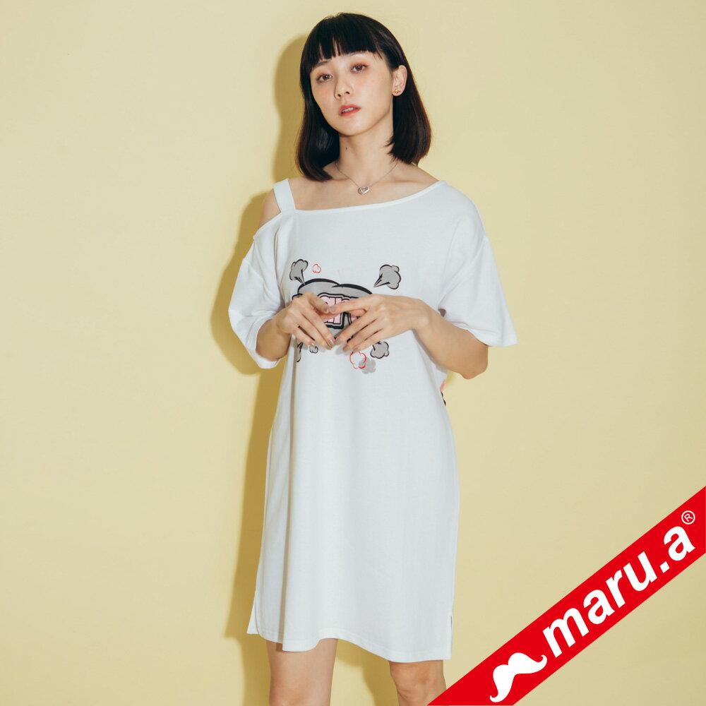 【maru.a】胸前maru.a印花背後織帶裝飾露肩洋裝 8317111 4