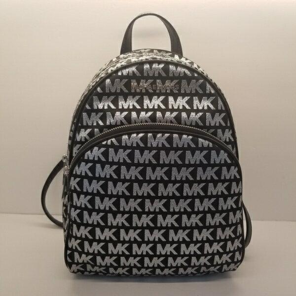 美國Michael Kors黑色 / 銀色MK LOGO刺繡布面設計 後背包 限量款 0