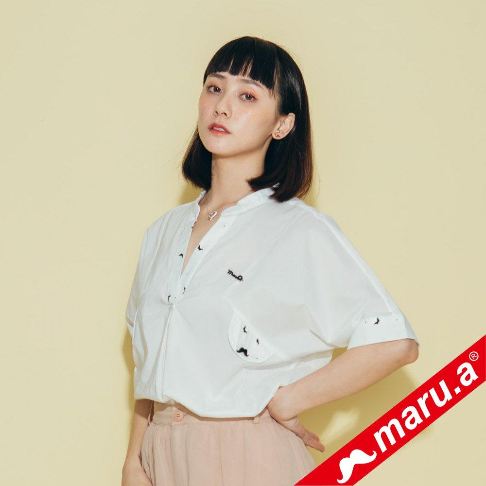 【maru.a】印花拼接V領寬鬆襯衫(2色)8313118 5