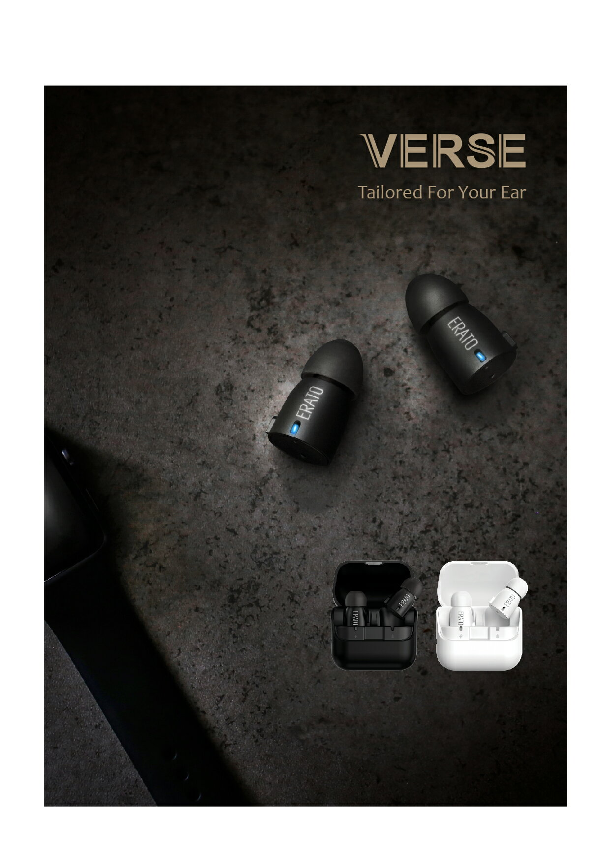 ERATO Verse Wireless Bluetooth Earbuds - Black (AEVE00BK) with Portable Charging Case 2