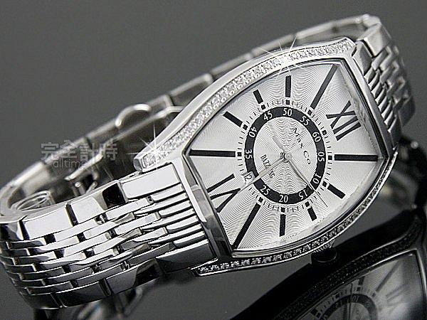 【完全計時】手錶館│Max Co 時尚酒桶酒樽造型晶鑽鋼帶錶 白MA335-1-ST 瑞士石英機芯