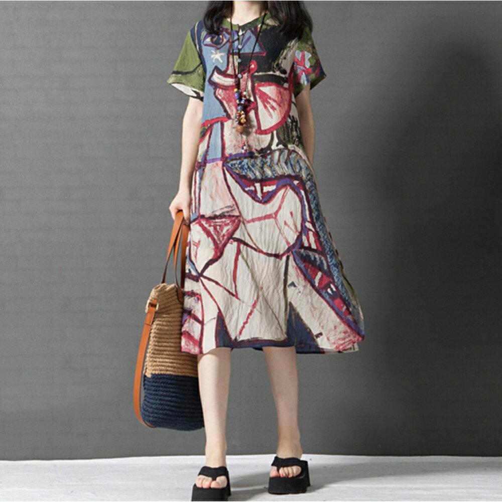 花色,短袖襯衫裙連身裙 (2色,M~2XL) 【OREAD】 - 限時優惠好康折扣