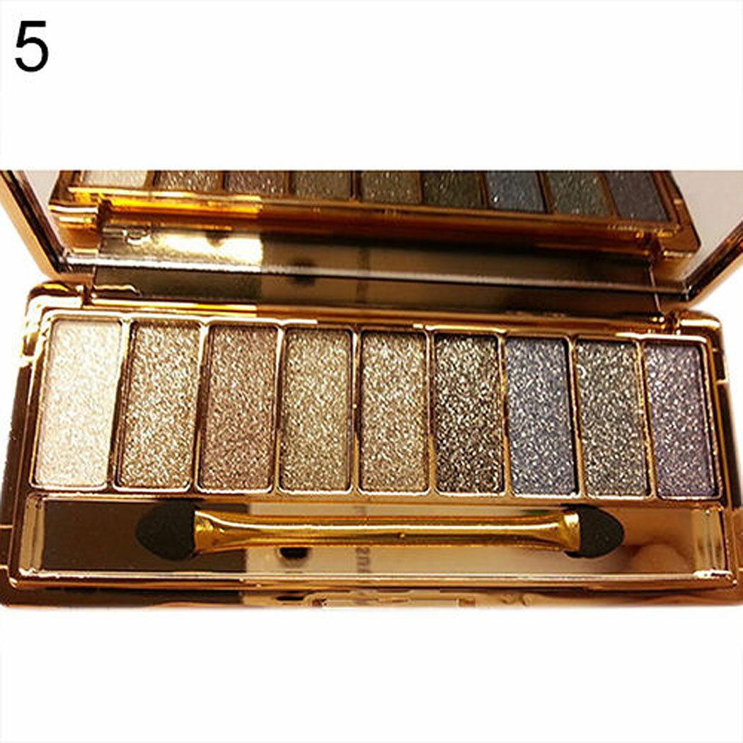 9 colors Waterproof Makeup Glitter Eyeshadow Palette with Brush 6