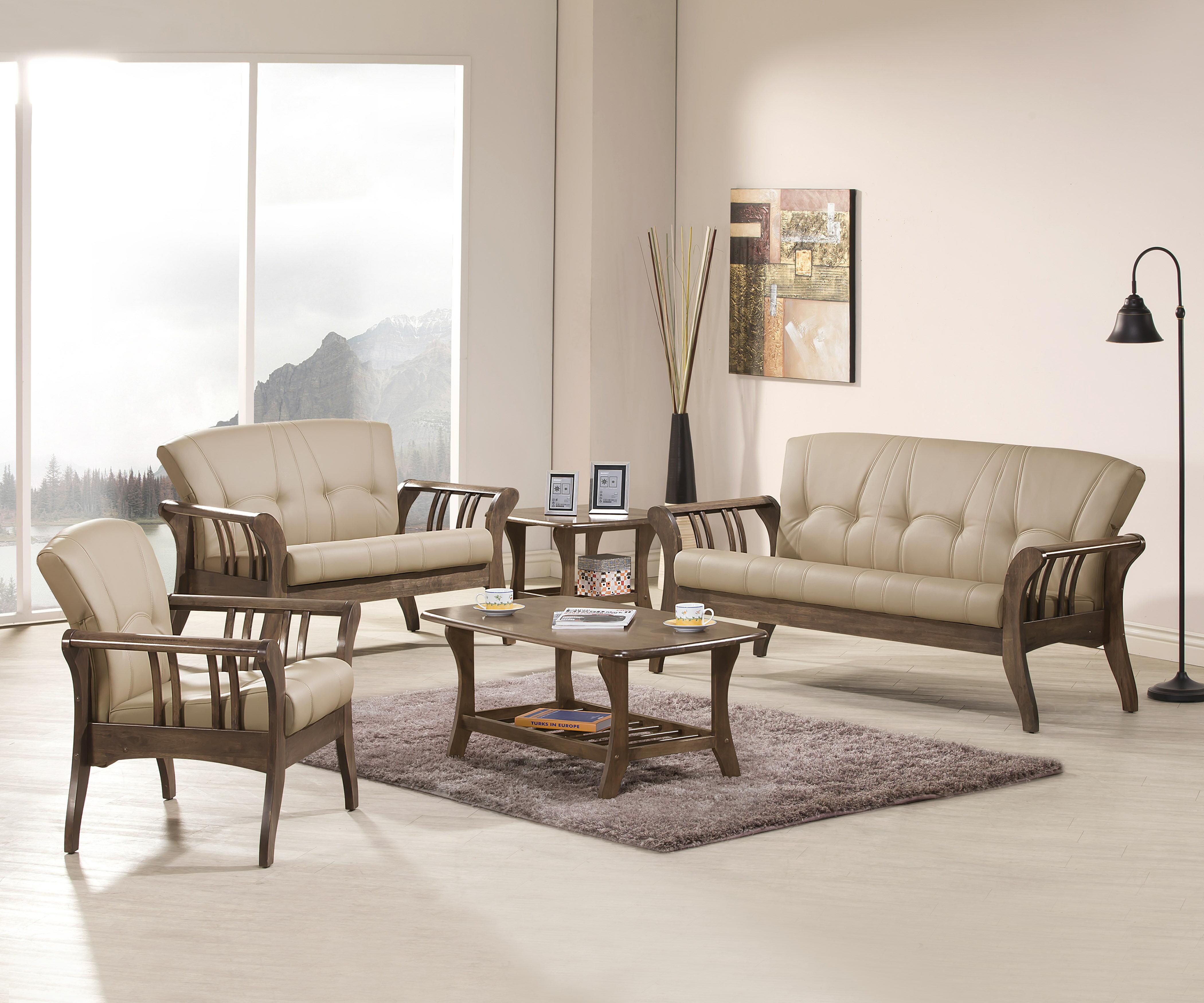 《伊豆》(促銷免運)卡其 三人沙發 全實木 三人位沙發 三人座 皮沙發 木製沙發 工廠直營 辦公沙發 組椅 !新生活家具! 樂天雙12