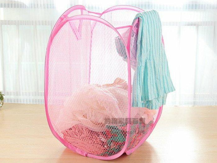 約翰家庭百貨》【BE200】彩色折疊網狀洗衣籃 髒衣籃 透氣性佳 隨機出貨