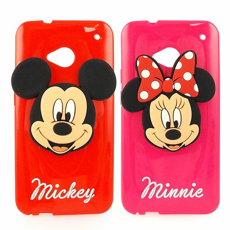 【Disney 】NEW HTC ONE 時尚大頭造型捲線保護套-米奇/米妮
