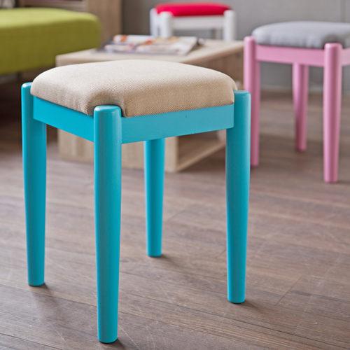 TZUMii:椅子沙發椅凳TZUMii和風菓子實木小椅凳-天空藍