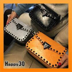 小方包鎖扣包前蓋包包式錢包金屬鉚釘包民族圖騰寬帶率性個性-黑/黃/白/粉/綠/紅【AAA2863】