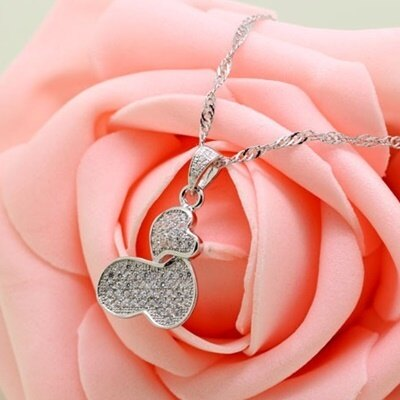 925純銀項鍊 鑲鑽吊墜~獨特 唯美大方母親節情人節生日 女飾品73fy119~ ~~米蘭