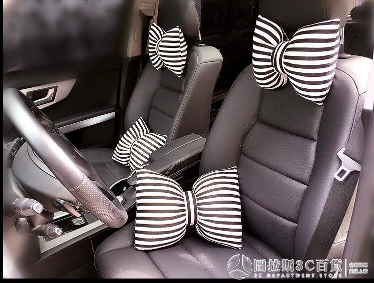 汽車頭枕可愛蝴蝶結護頸枕女 卡通靠枕車用枕頭 腰靠抱枕車載飾品 摩登生活