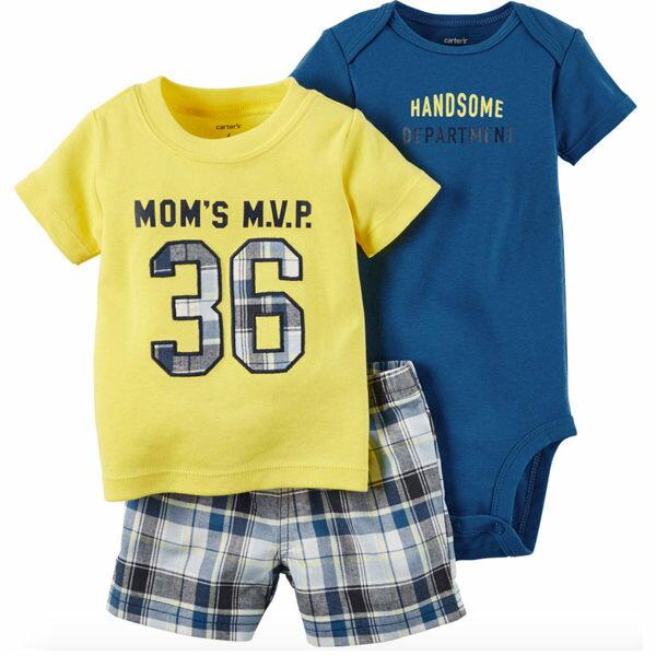 YODEE 優迪嚴選:Carter'sCarters美國童裝包屁衣短袖短褲套裝黃色深藍色三件組3M6M9M12M18M24M