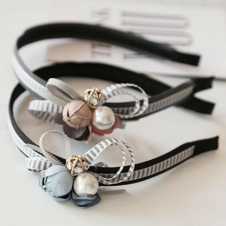 韓國手作質感條紋花朵珍珠髮箍