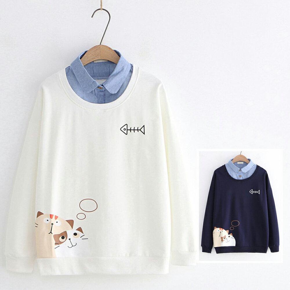 日系森女幻想貓咪印花牛仔領假兩件上衣(2色M,L)【OREAD】 1