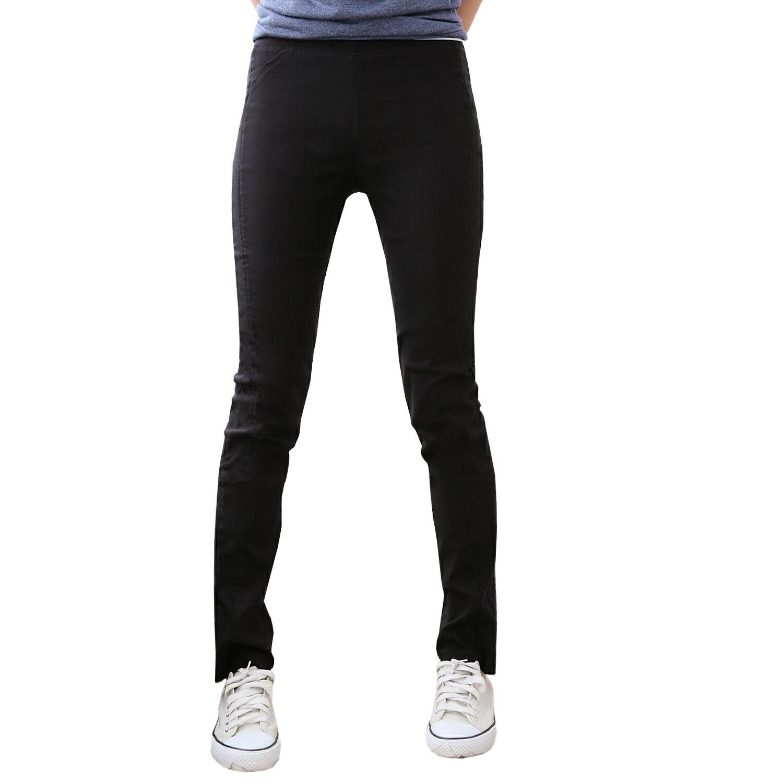 長褲--類正式隱藏版-鬆緊帶側邊車線前縫長褲(黑M-3L)-P27眼圈熊中大尺碼 1