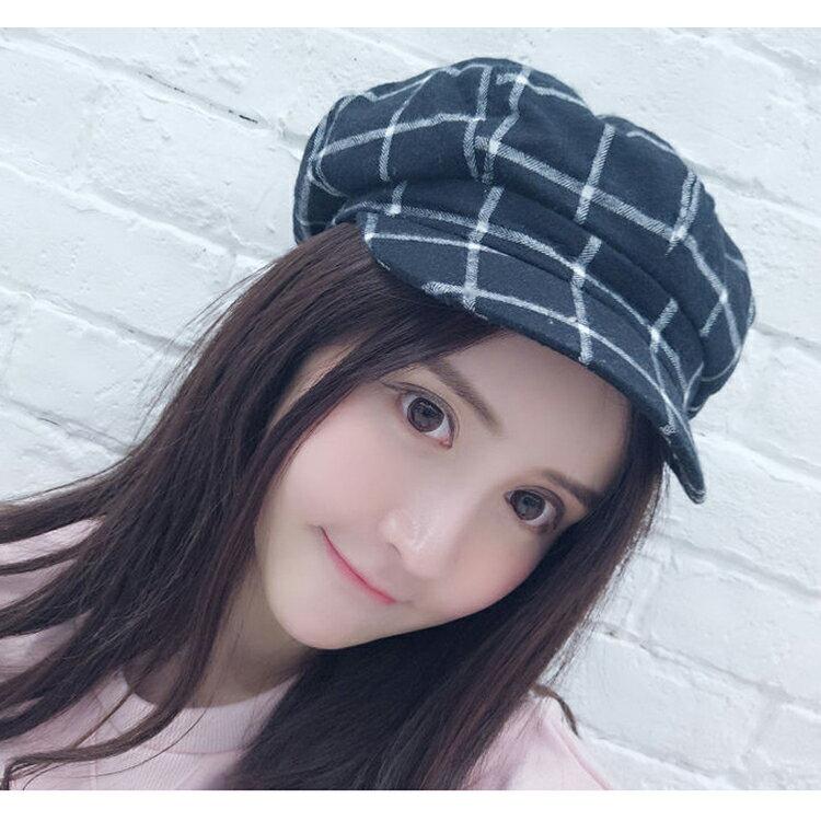貝雷帽 畫家帽 格紋 八角帽 遮陽 貝雷帽【QI8509】 BOBI  09/01 2