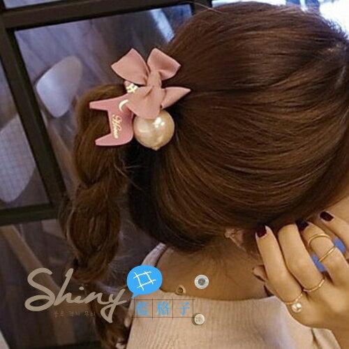 【DJB4408】shiny藍格子-蝴蝶結木馬大珍珠蓮藕結髮圈發繩