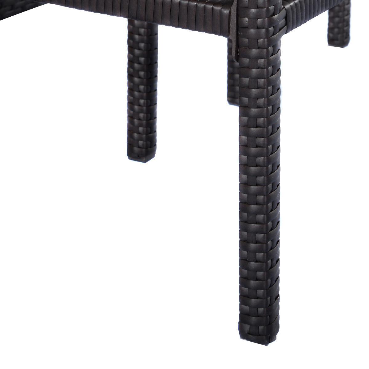 Costway 3PCS Rattan Wicker Bar Set Patio Outdoor Table & 2 Stools Furniture Brown 7