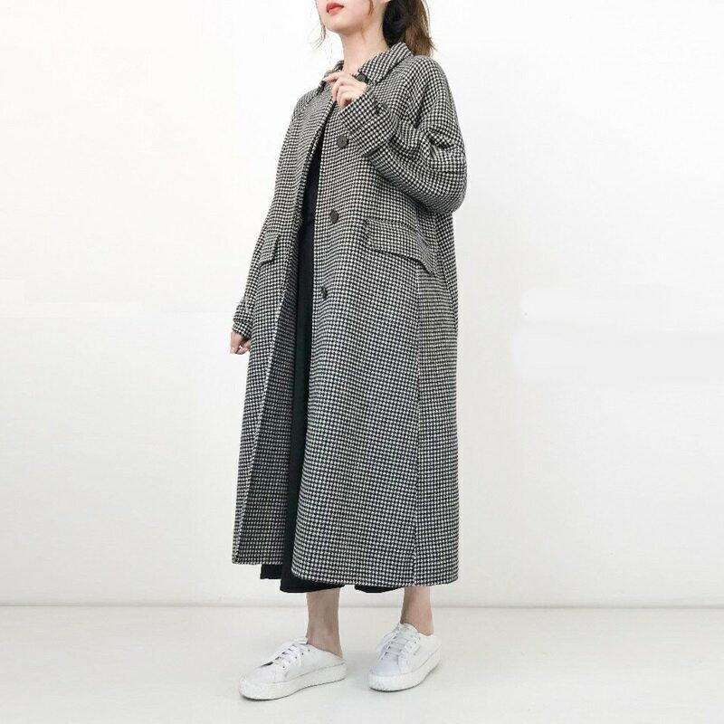 毛呢大衣羊毛外套-長版翻領暗扣寬鬆女外套2色73wb6【獨家進口】【米蘭精品】 1