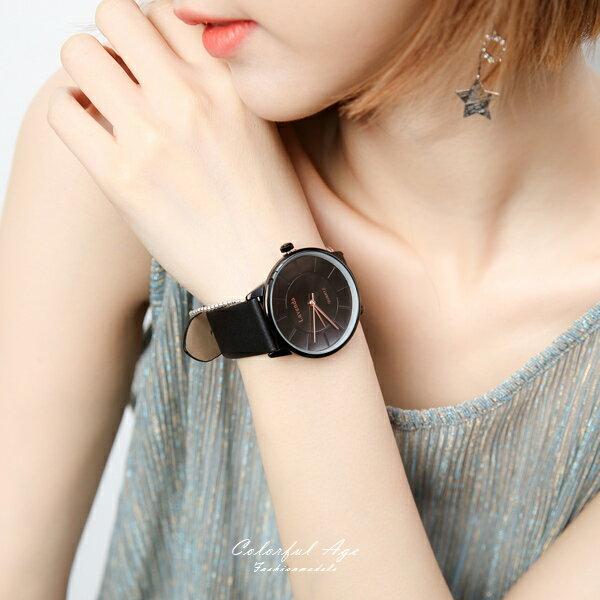 手錶 正韓LAVENDA隱藏刻度皮革腕錶【NEK41】 柒彩年代