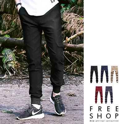 Free Shop~QSPN3846~日韓系後口袋電繡字母雙側口袋素面休閒長褲工作褲縮口褲