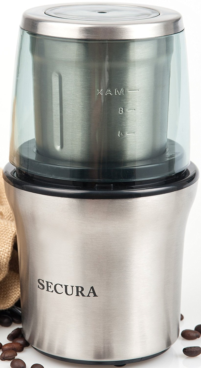 Secura Electric Coffee and Spice Grinder with Stainless Steel Blades Removable Bowl 0