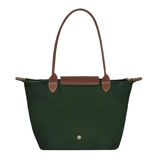 [2605-S號]國外Outlet代購正品 法國巴黎 Longchamp  長柄 購物袋防水尼龍手提肩背水餃包 墨綠色 2