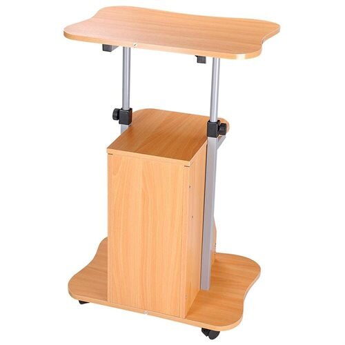 Adjule Height Rolling Mobile Stand Laptop Desk Cart W Storage Office Beech 2