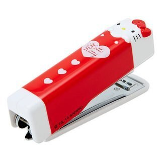 【真愛日本】14121800020釘書機-大臉愛心紅   三麗鷗 Hello Kitty 凱蒂貓  辦公用品 裝訂