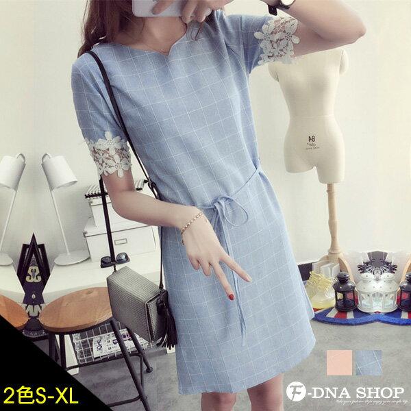 F-DNA★小V領花蕾絲拼接袖格紋洋裝(2色-S-XL)【ESK1503】