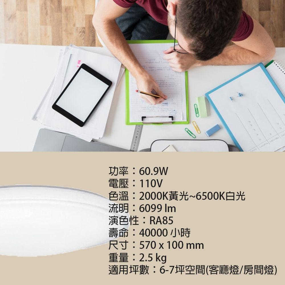 Toshiba日本東芝 雅緻 61W 110V LED調光調色 吸頂燈 附遙控 房間燈 客廳燈  /  /  永光照明TOSHIBA-LEDTWTH61EC 5