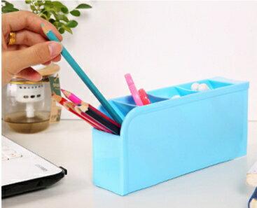 《喨晶晶生活工坊》藍色 韓國塑料桌面收納盒 創意雜物整理盒 辦公桌面化妝品儲物盒
