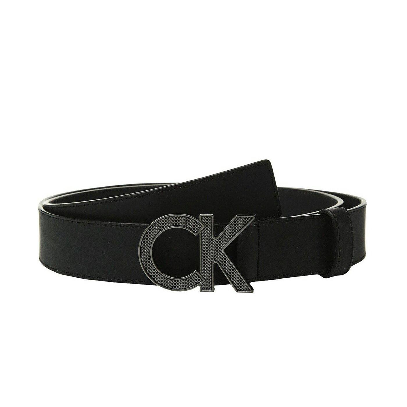 美國百分百【全新真品】Calvin Klein CK 男款 真皮 皮革 皮帶 腰帶 黑色 大尺碼 32-40腰 J115