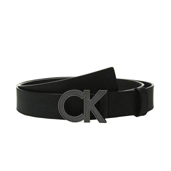 美國百分百【全新真品】CalvinKleinCK男款真皮皮革皮帶腰帶黑色大尺碼32-40腰J115