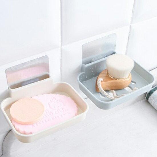 ♚MYCOLOR♚笑臉無痕貼壁掛式肥皂盒衛生間浴室廚房強力無痕貼香皂托瀝水架【P408】