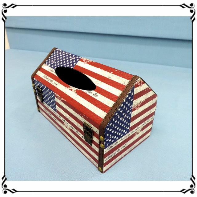 屋型面紙盒《LJ8》英倫風 美國國旗皮革面紙盒 木製面紙盒 屋型收納盒◤彩虹森林◥