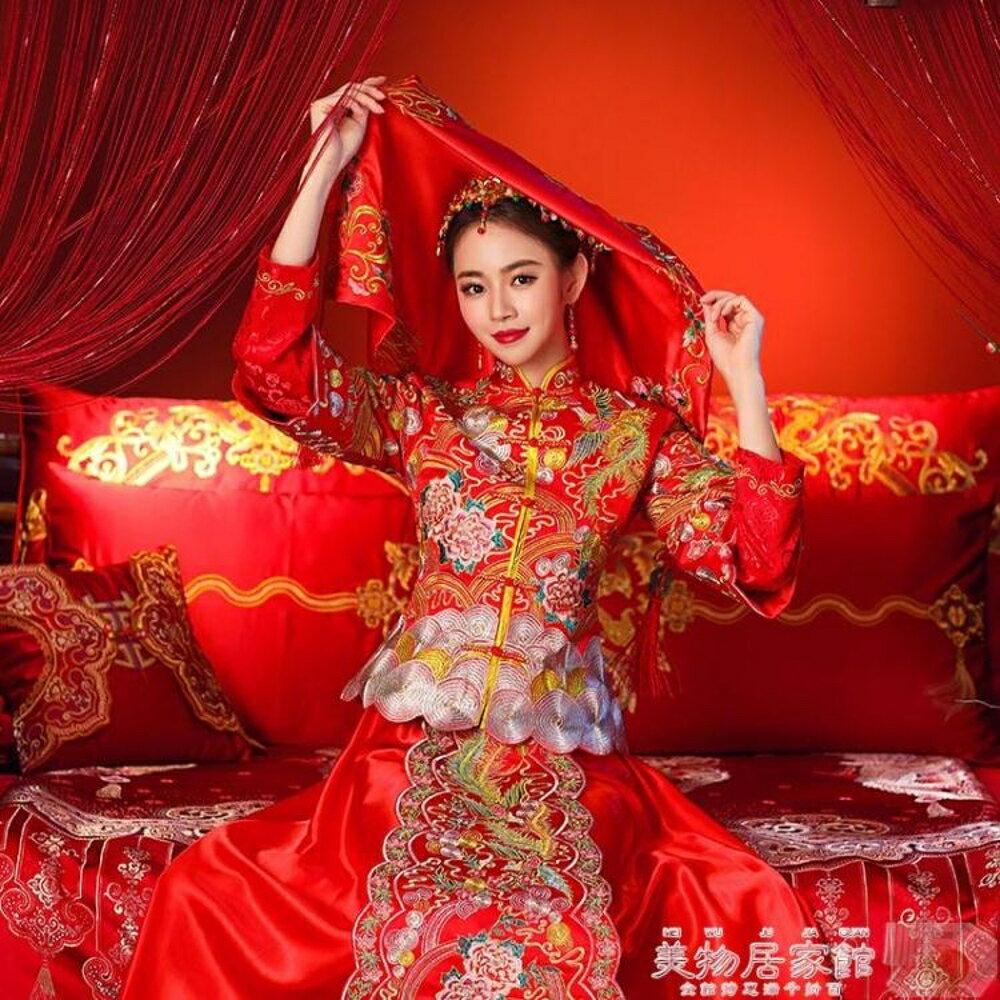 新娘頭紗 新娘中式刺繡紅蓋頭結婚用品頭帕巾婚慶頭紗婚禮喜帕 領券下定更優惠