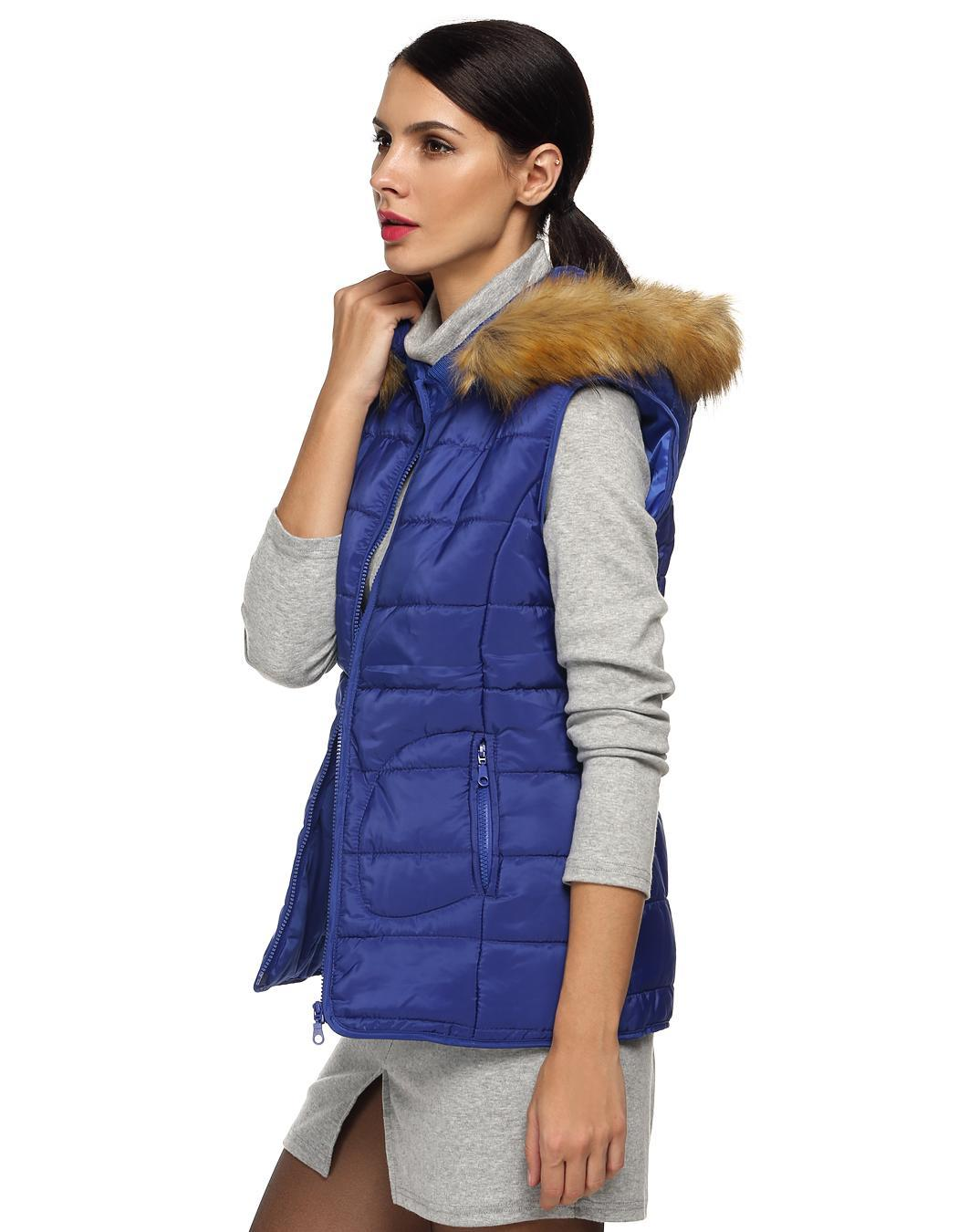 Women Sleeveless Detachable Hat Fur Collar Outwear 4