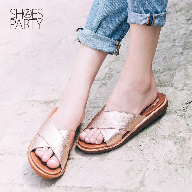 限定新色~~S2~16508L~Simple 久走不累簡約交叉真皮拖鞋_Shoes Par