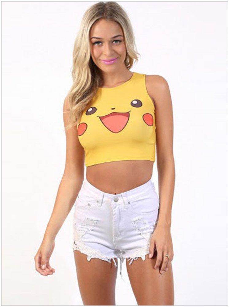 網路熱門話題款式 寶可夢 pokemon go 無袖圓領貼身皮卡丘印花性感神奇寶貝背心T恤 25570 現貨下標區