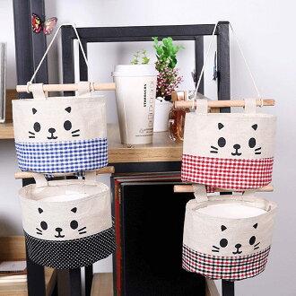 收納籃-日系可愛貓咪多層棉麻儲物袋 收納袋【AN SHOP】