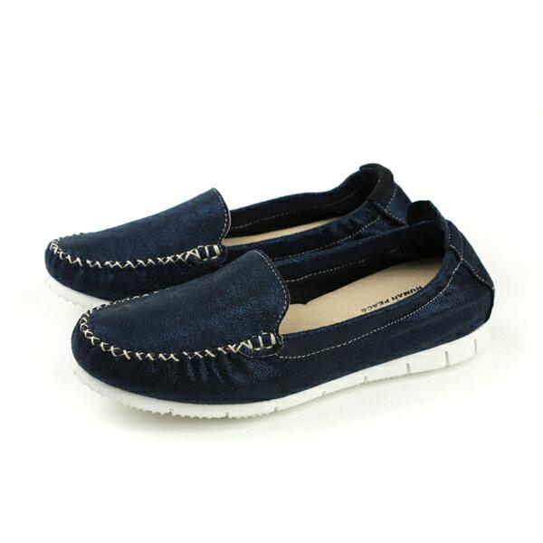 HUMANPEACE皮革懶人鞋平底鞋休閒鞋深藍色女鞋151622no004