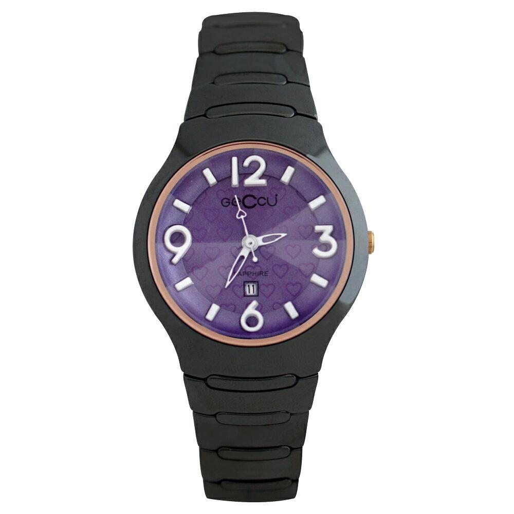 GECCU TC-1115 炫麗可愛心型切玻鏡面黑色陶瓷錶帶*5色 2