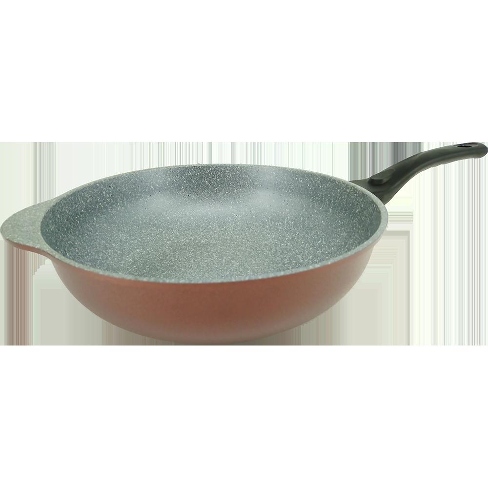 韓國ECORAMIC 鈦晶石抗菌不沾鍋 平底鍋  - 32cm單耳單把大深平底炒鍋  附鍋蓋