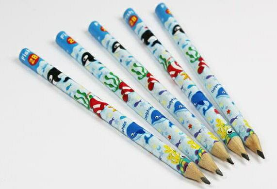 兒童學習2B鉛筆粗三角軸5枝入-海洋★兒童學齡鉛筆★三角鉛筆★好握