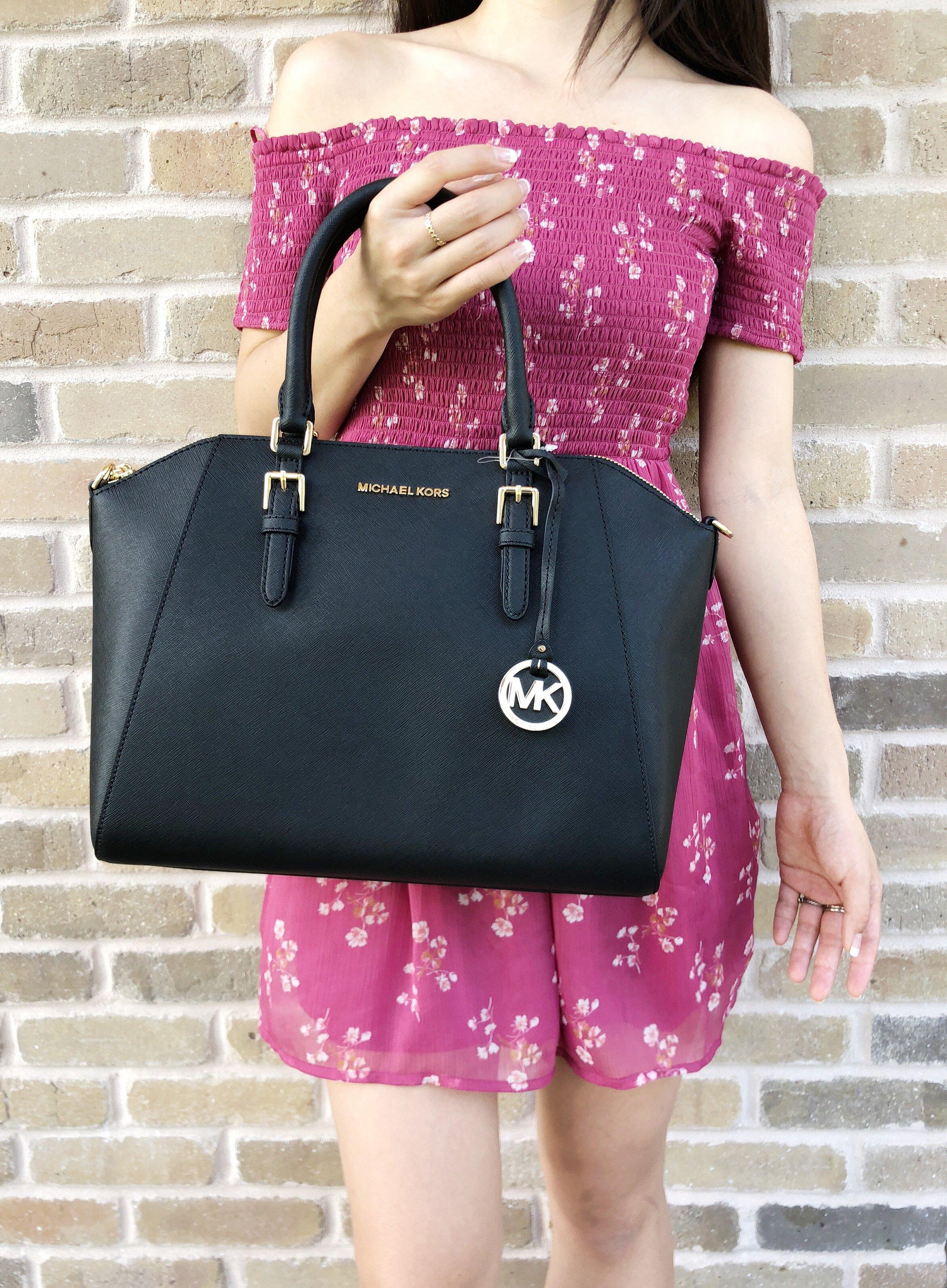d39d0466470a Rakuten Home · Gaby s Bags. Michael Kors Large Ciara Top Zip Satchel Black  Saffiano Leather 0