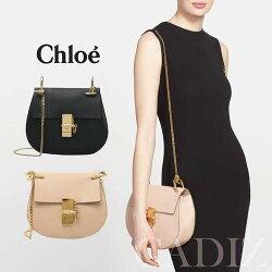 法國正品 CHLOE Mini Drew Calfskin Leather Bag  黑粉皮革迷你鏈條肩包 3S1032