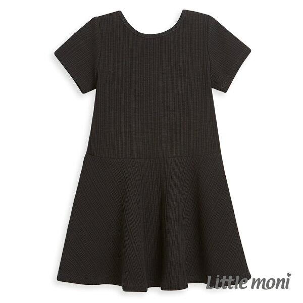 Littlemoni雙面穿圓領露背洋裝-黑色