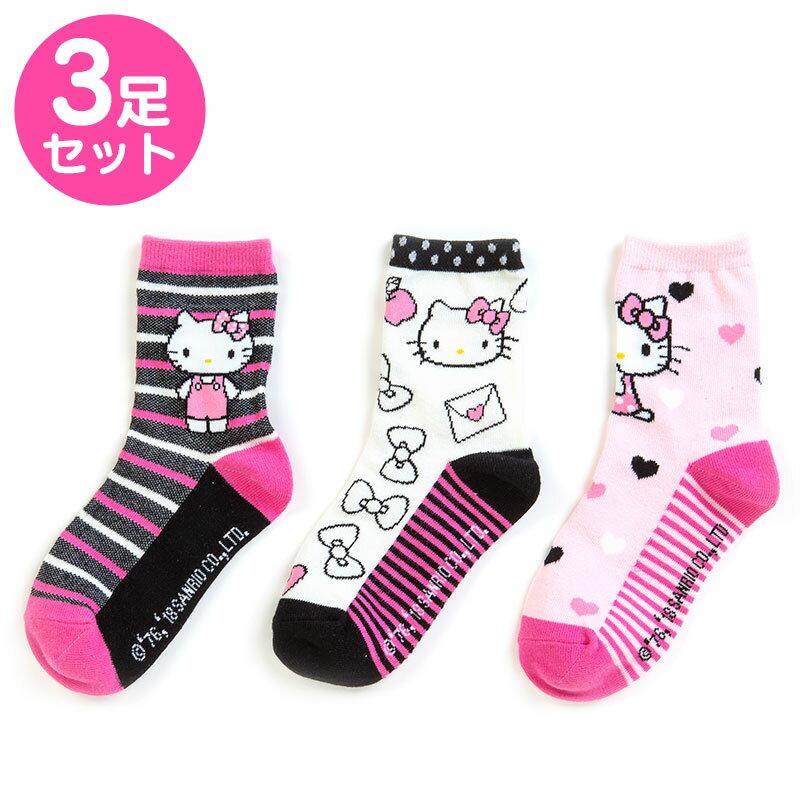 【真愛日本】三入襪子-KT條紋加ABV 三麗鷗 kitty 凱蒂貓 兒童雨鞋