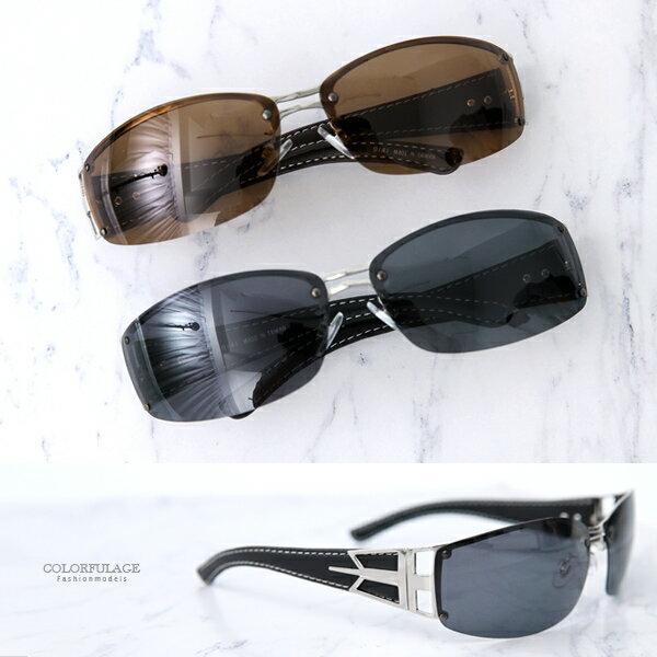 墨鏡 雅痞方框皮革腳架偏光太陽眼鏡 柒彩年代【NY403】 - 限時優惠好康折扣